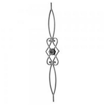 Arteferro Балясина с завитками и цветком h=1000мм, L=160мм, полоса 14*8мм, Арте(Арт.144504)