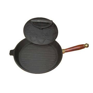 Комплект сковорода с крышкой грузом(цыпленок табака) с деревянной ручкой(Арт.150084)
